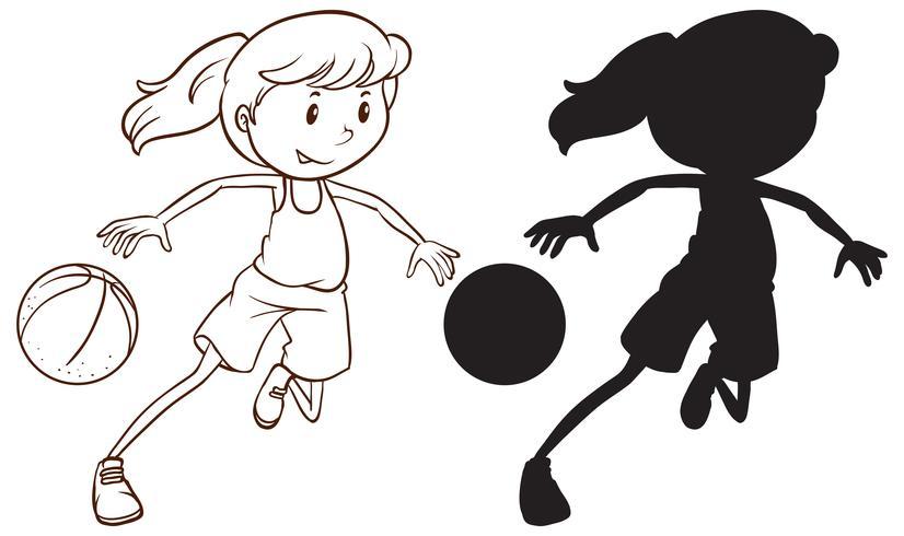 Jogo, de, femininas, jogador basquetebol vetor