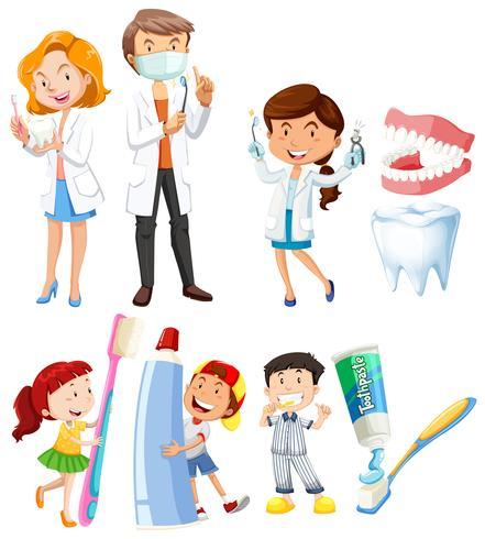 Tandarts en kinderen tandenpoetsen