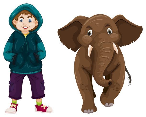Pequeño niño y bebé elefante