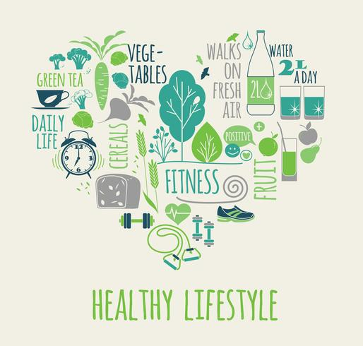 Healthy lifestyle vector illustration in the shape of heart.