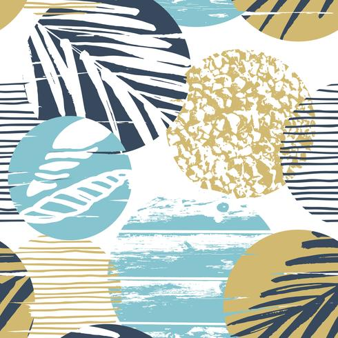Modisches Seenahtloses Muster mit Handbeschaffenheit und geometrischen Elementen.