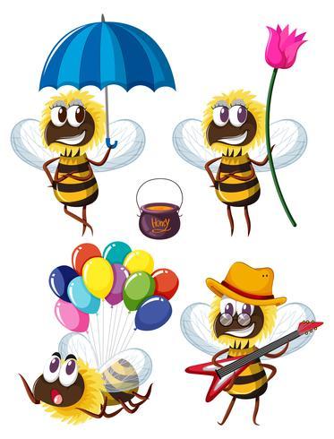 Bee karakters in verschillende acties