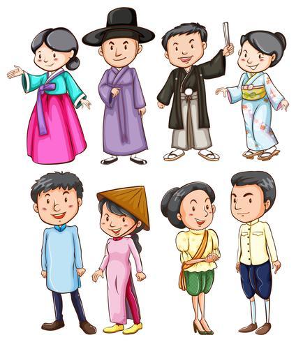 Personas en diferentes países en sus trajes. vector
