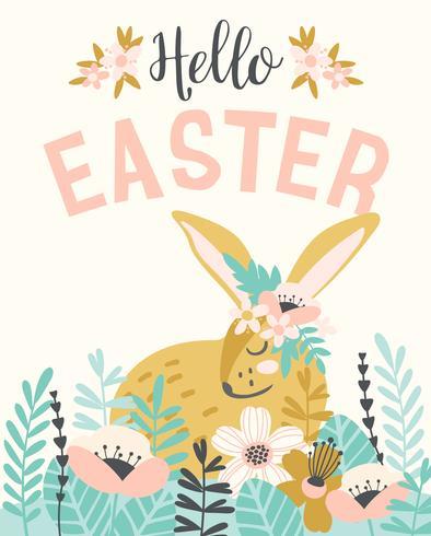 Gelukkig Pasen. Vectormalplaatje met Pasen-konijntje voor kaart, affiche, vlieger en andere gebruikers