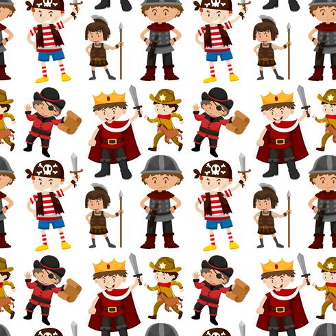Seamless pattern of children dressed up