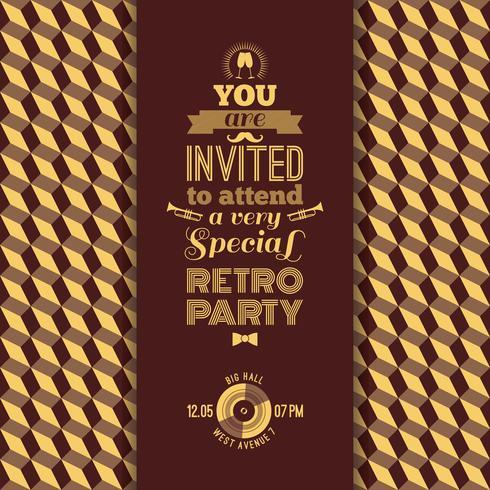 Convite para festa retrô. Fundo geométrico retrô vintage. vetor