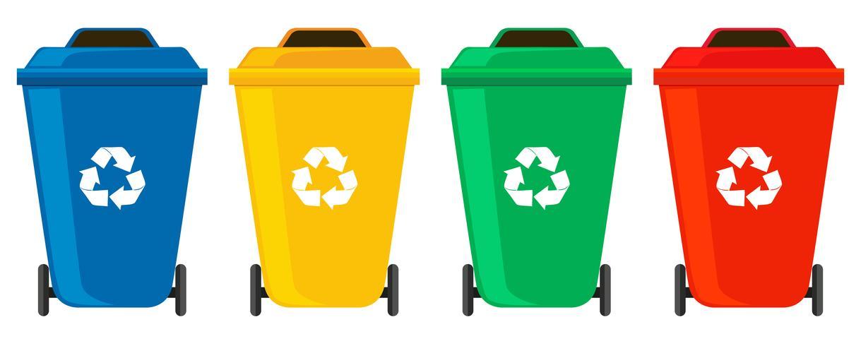 Vier Farben von Mülltonnen