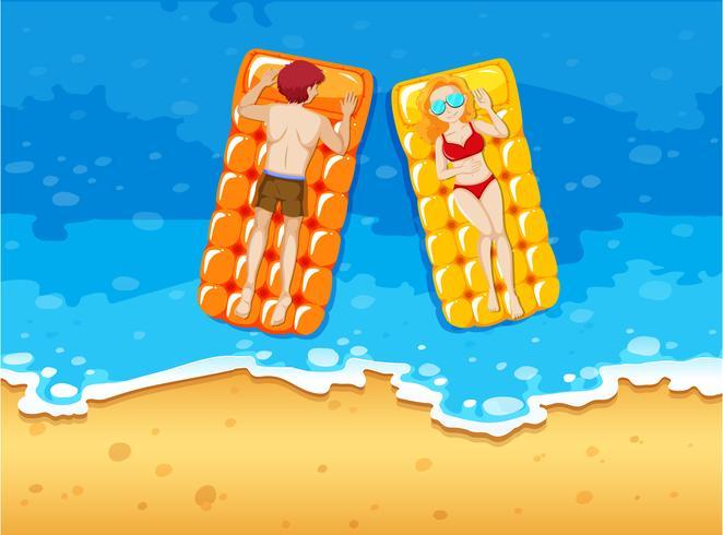 Man and woman sunbathing on the seaside vector
