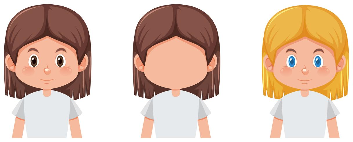Conjunto de niña con diferente color de cabello.
