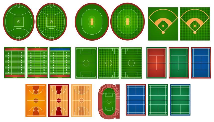 Canchas deportivas y campos. vector