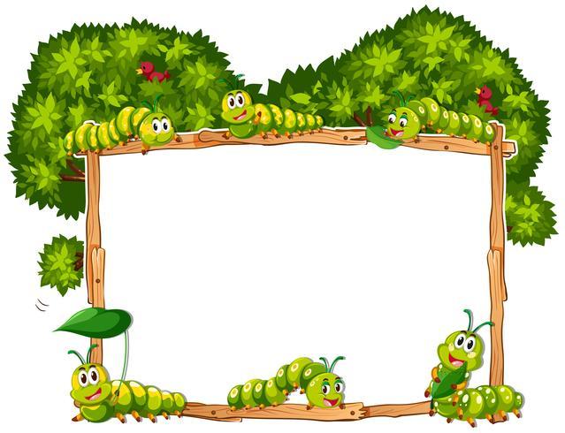 Grensmalplaatje met groene rupsen