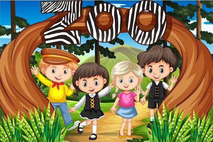 Kinderen bij de ingang van de dierentuin