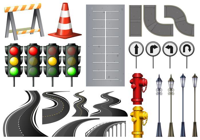 Verschiedene Gegenstände und Sicherheitsausrüstung für den Verkehr