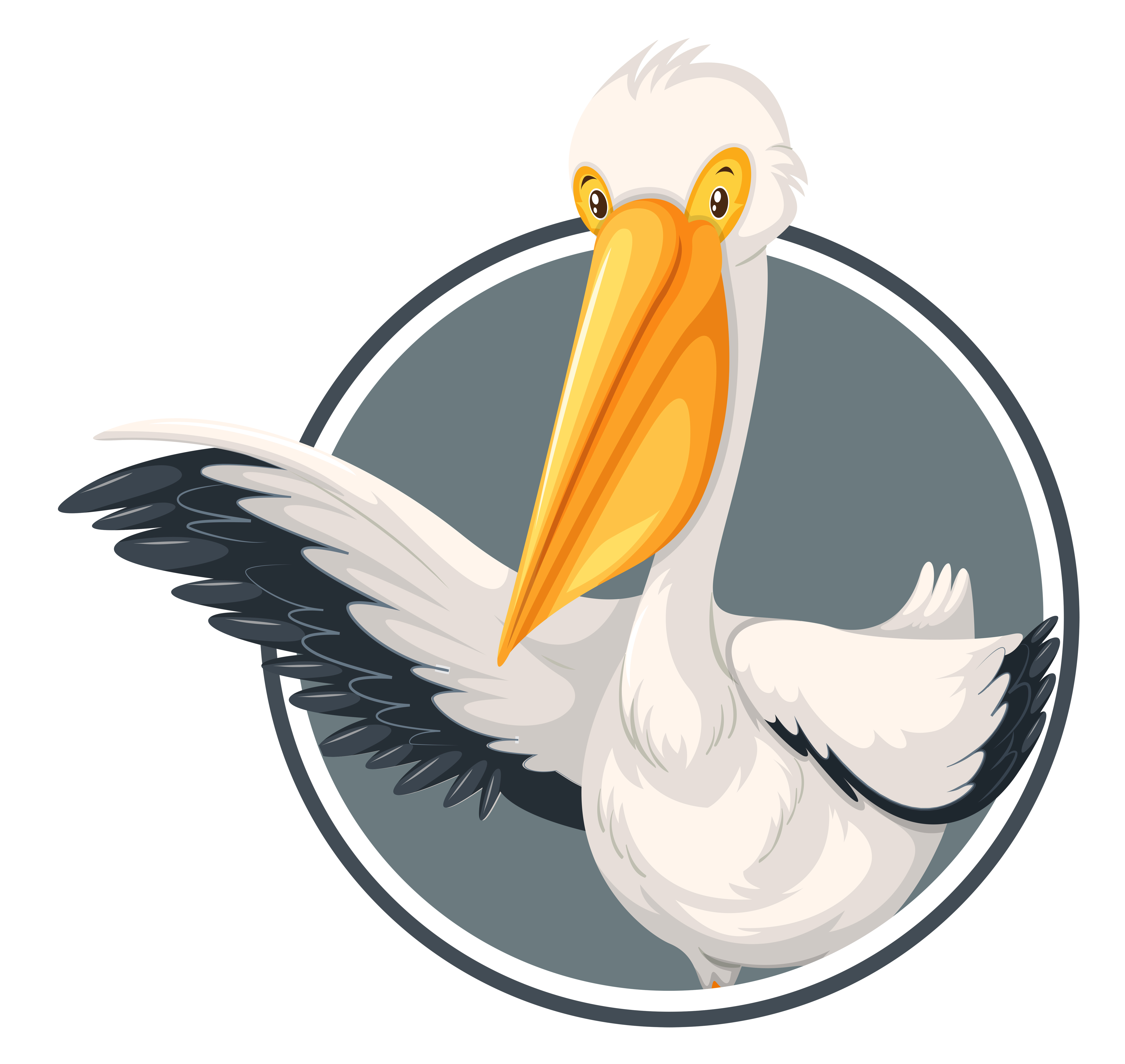 A pelican on sticker template - Download Free Vectors ...