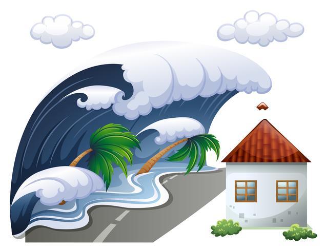 Escena del tsunami con grandes olas y casa.