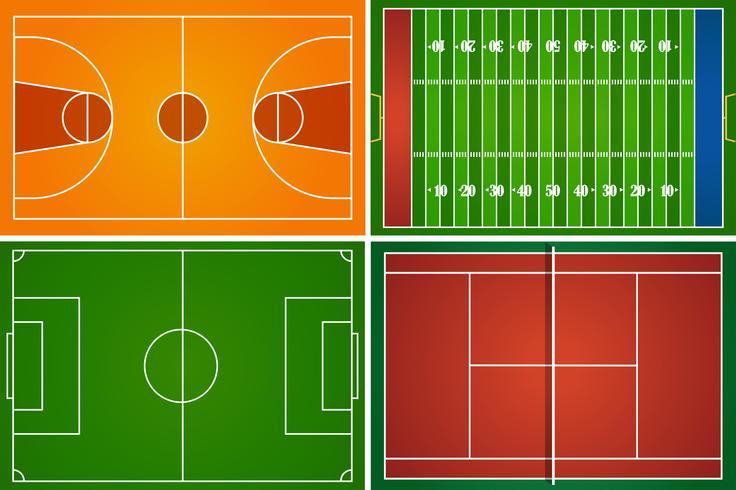 Sportplätze und Gerichte