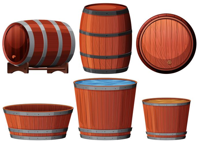 Six different wooden barrell illustration
