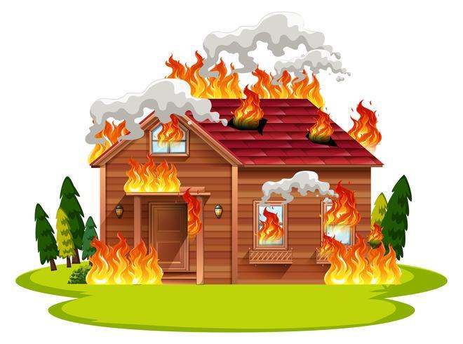 Casa de madeira de cabine em chamas