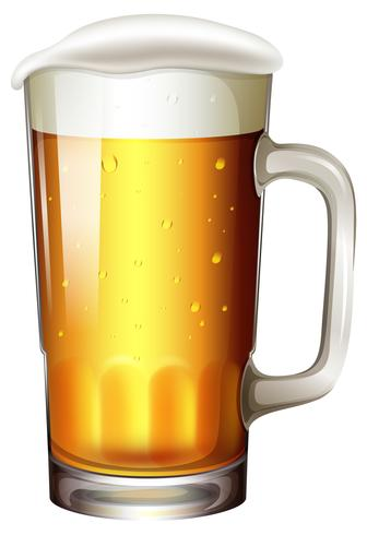 A Pint of Beer on White Background