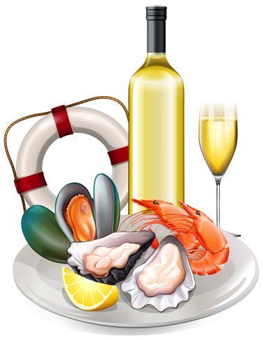 Refeição de frutos do mar com vinho branco