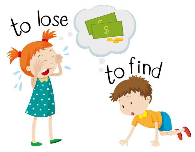 Gegenteilige Wordcard für verlieren und finden