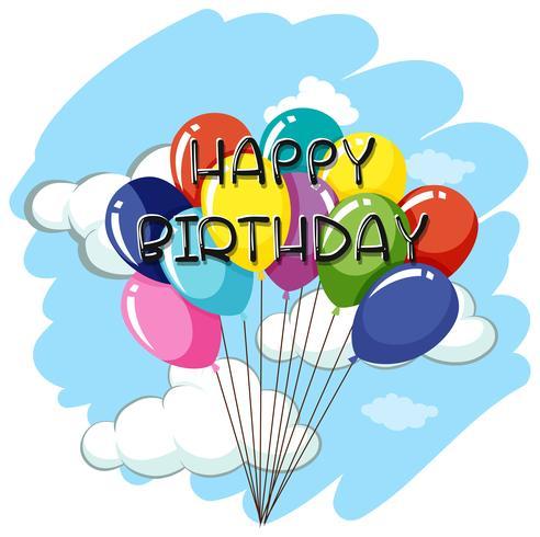 Gelukkige verjaardag kaartsjabloon met ballonnen in de hemel