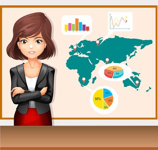 Empresaria con mapamundi y gráficos vector