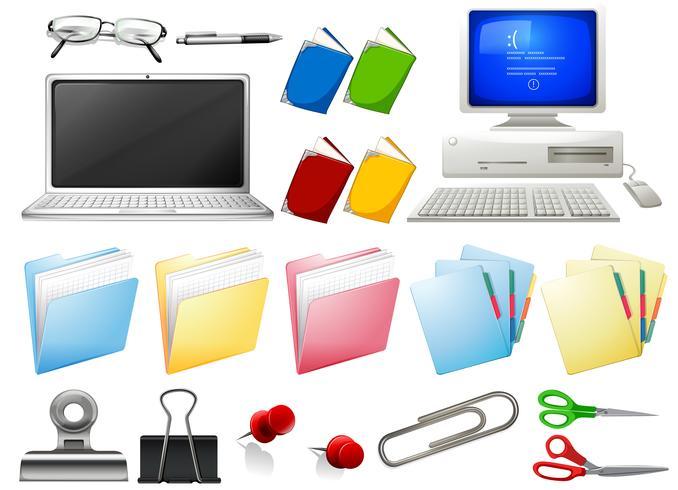 Objetos de computador e escritório vetor
