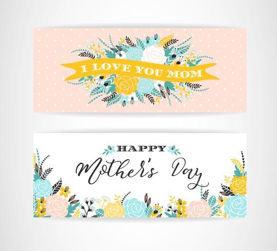 Sistema de tarjetas de felicitación felices de las letras del día de madres con las flores. vector
