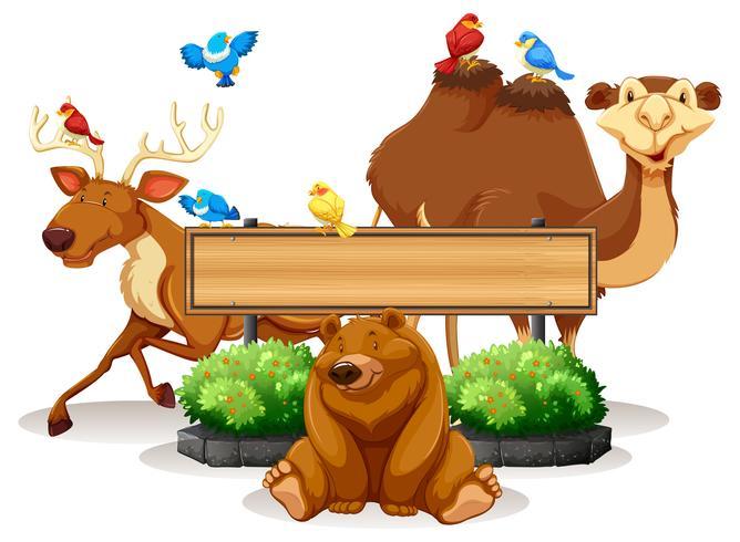 Wild dier en houten teken sjabloon