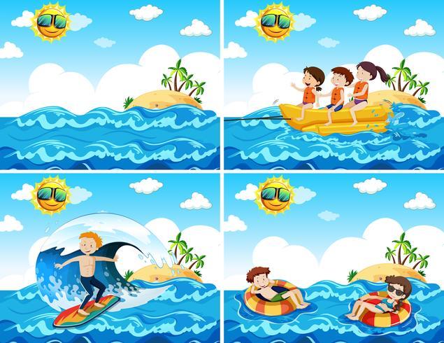 Een reeks strandactiviteiten