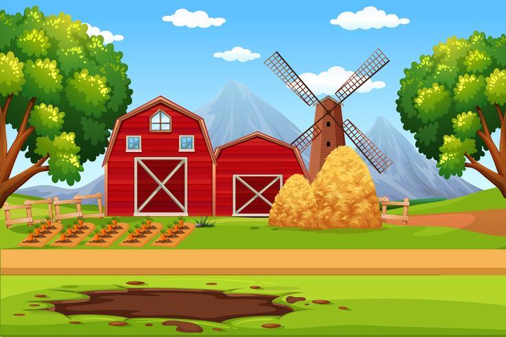 Maison dans le paysage agricole vecteur