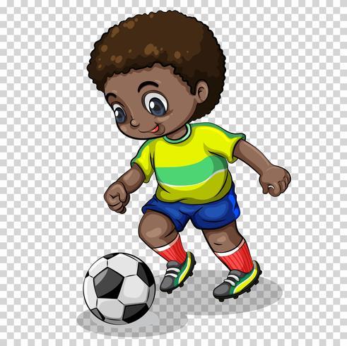 Jogador de futebol jogando futebol em fundo transparente