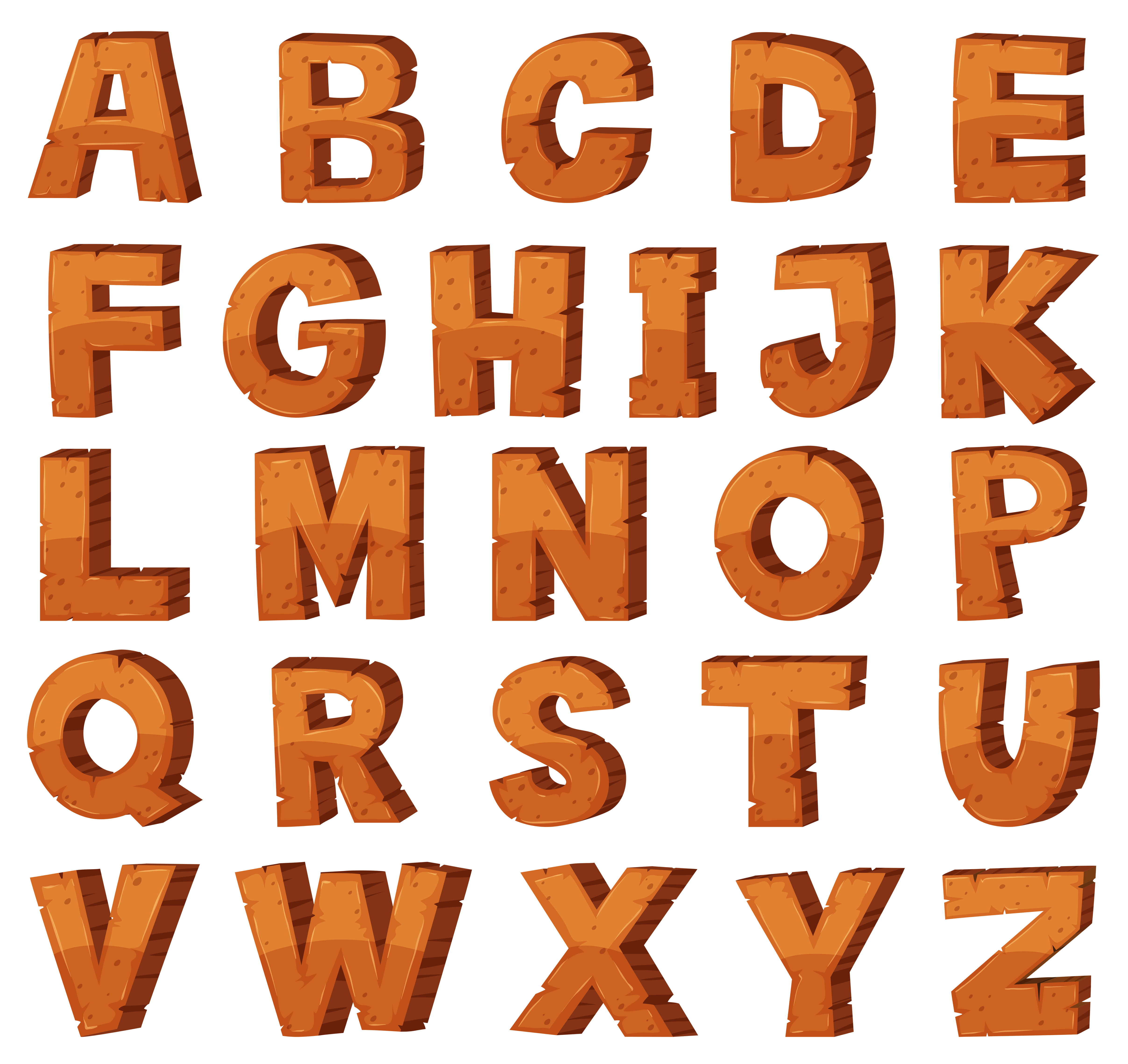 font design for english alphabets with rock texture