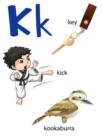 Letter K voor toets, trap en kookaburra