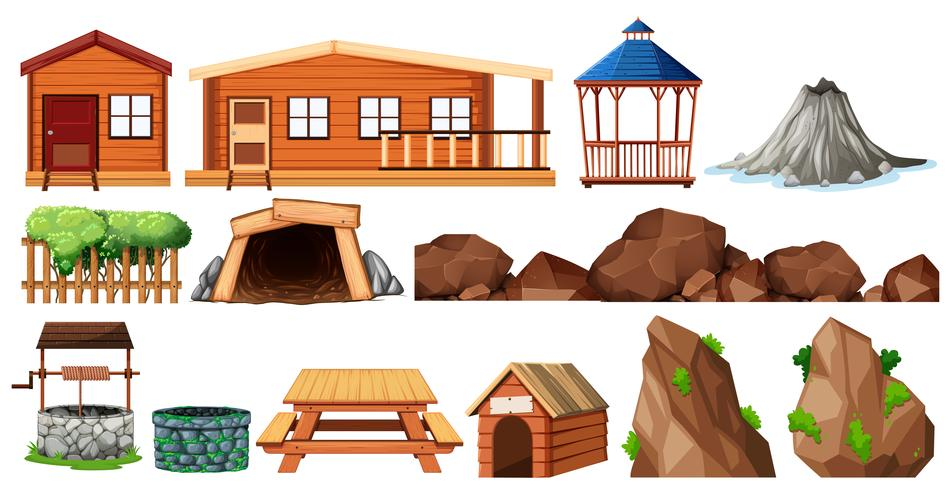 Set of house and gardening vector