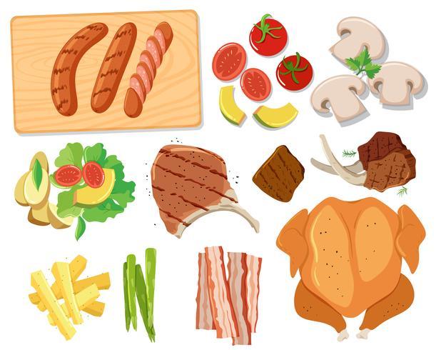 Vários conjuntos de comida de churrasco