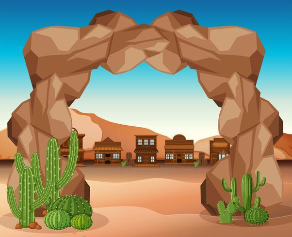 Ville de l'ouest avec entrée de roche