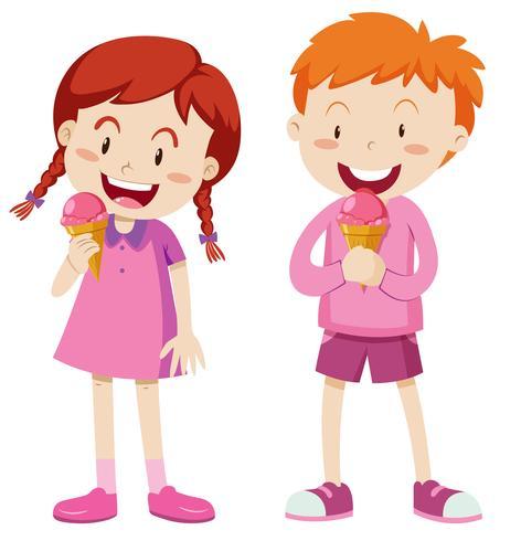 Junge und Mädchen in der rosafarbenen Ausstattung mit Eiscreme