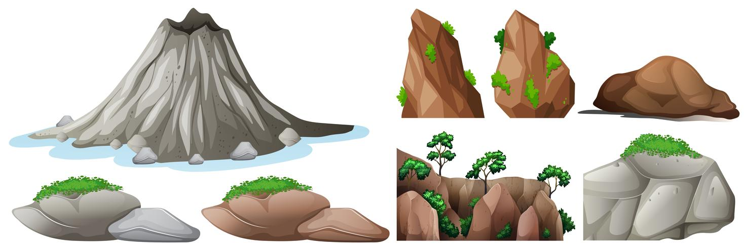Nature elements with rocks and mountains