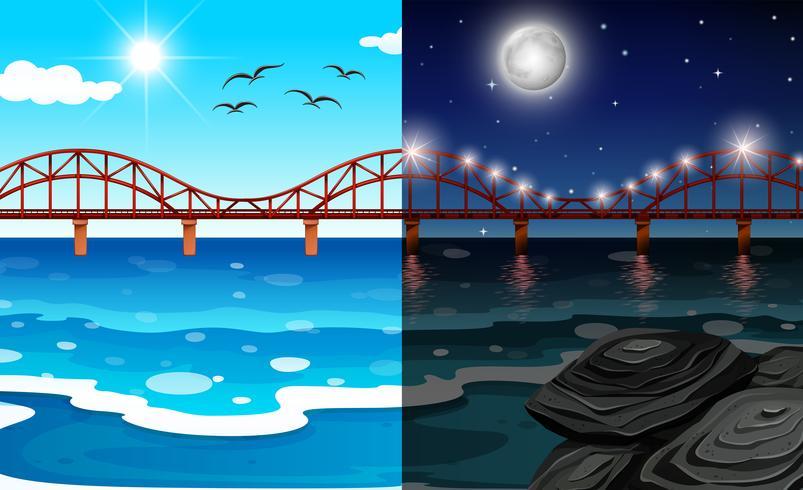 Día y noche paisaje oceánico.