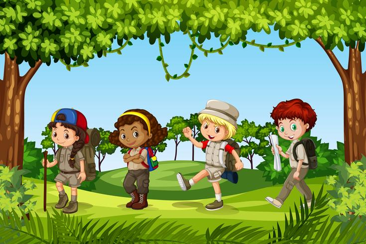 Group of child scouts vector