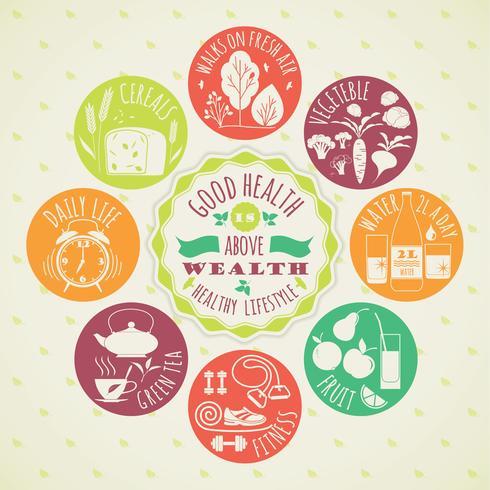 Vektor illustration av hälsosam livsstil. ikonuppsättning.