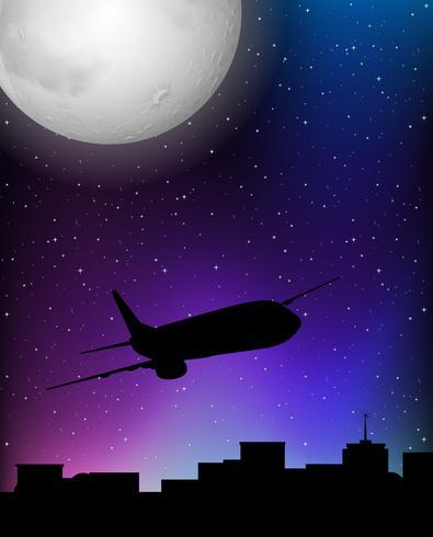 Silhouetscène met vliegtuig die bij nacht vliegen
