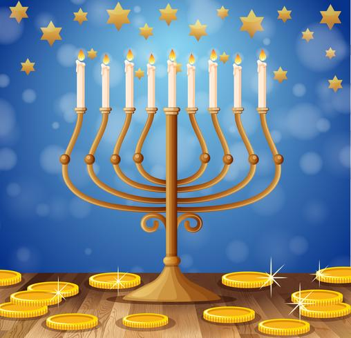 Candles on sticks and golden coins