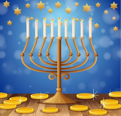 Bougies sur des bâtons et des pièces d'or