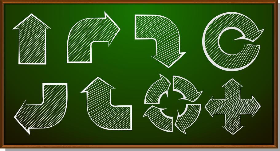 Diferentes formas de flechas no quadro-negro vetor