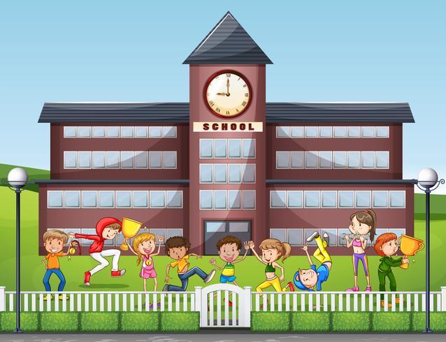 Beaucoup d'enfants jouent à l'école vecteur