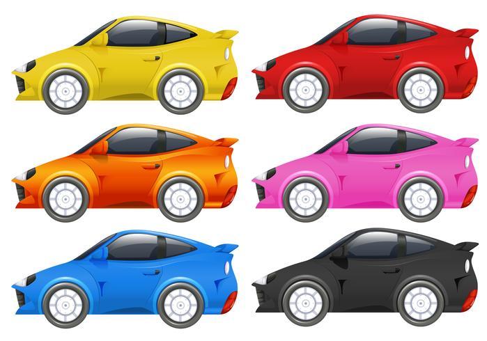 Coches de carreras en seis colores diferentes.