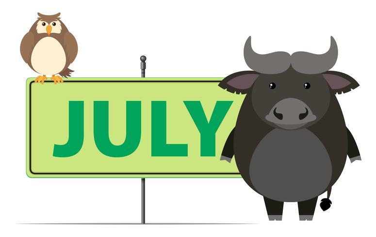 Zeichenvorlage für Juli mit Eule und Büffel